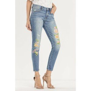Miss Me Floral Mid Rise Ankle Skinny Jeans